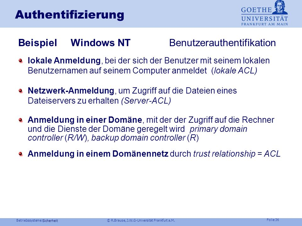 Authentifizierung Beispiel Windows NT Benutzerauthentifikation