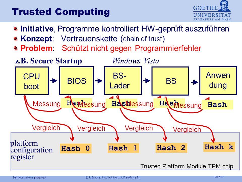 Trusted Computing Initiative, Programme kontrolliert HW-geprüft auszuführen. Konzept: Vertrauenskette (chain of trust)
