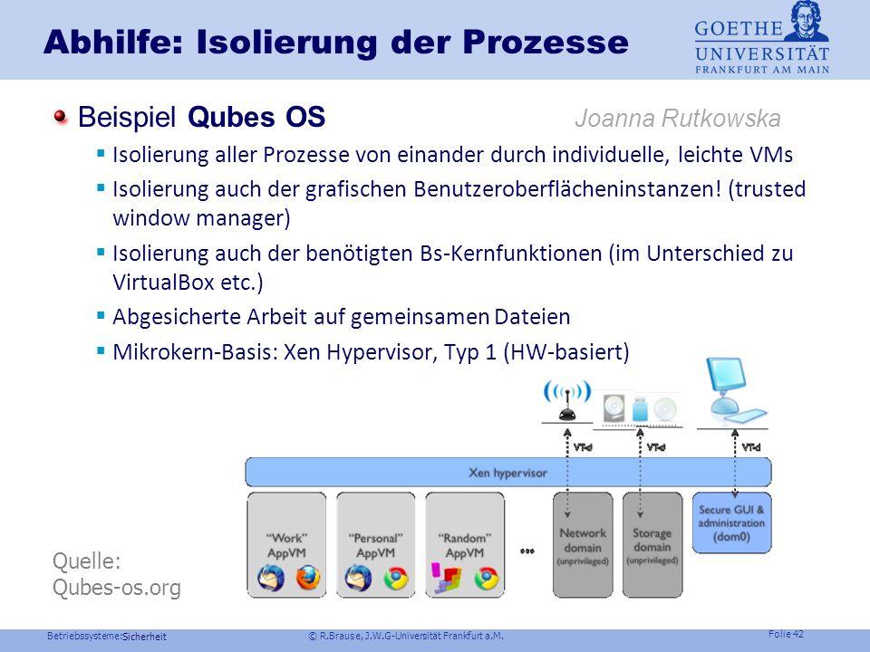 Abhilfe: Isolierung der Prozesse