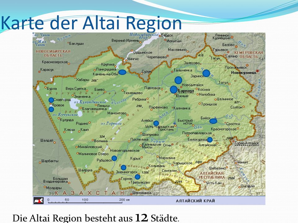 Karte der Altai Region Die Altai Region besteht aus 12 Städte.