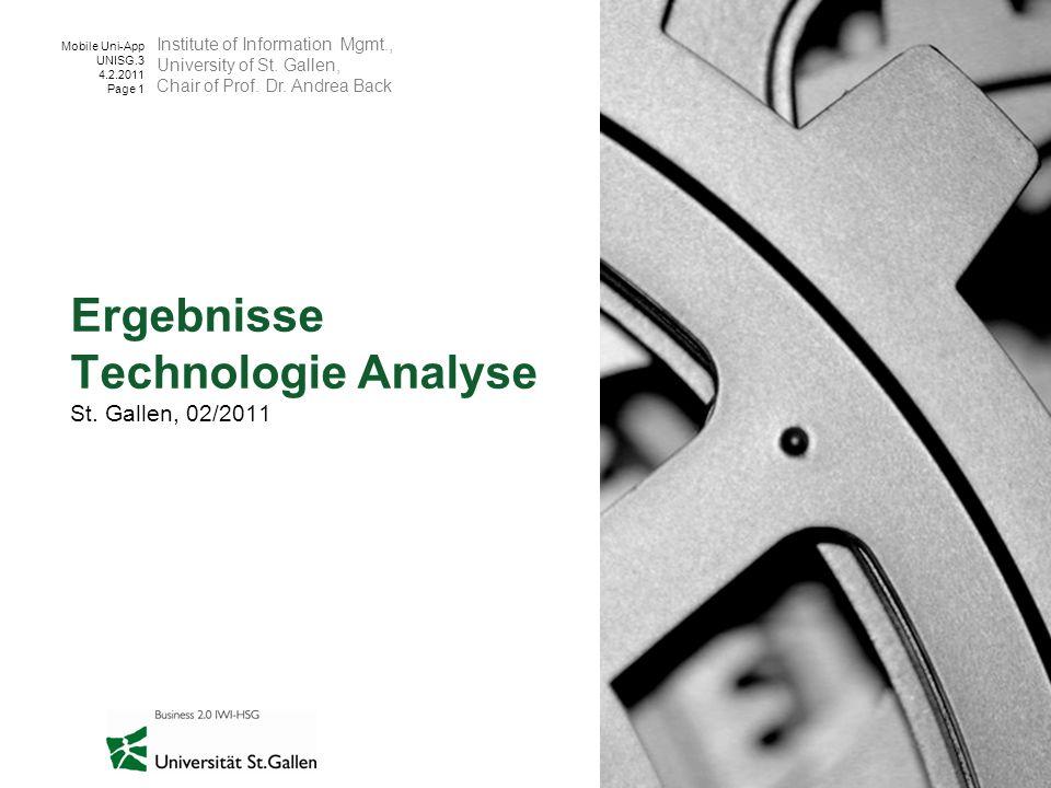 Ergebnisse Technologie Analyse St. Gallen, 02/2011