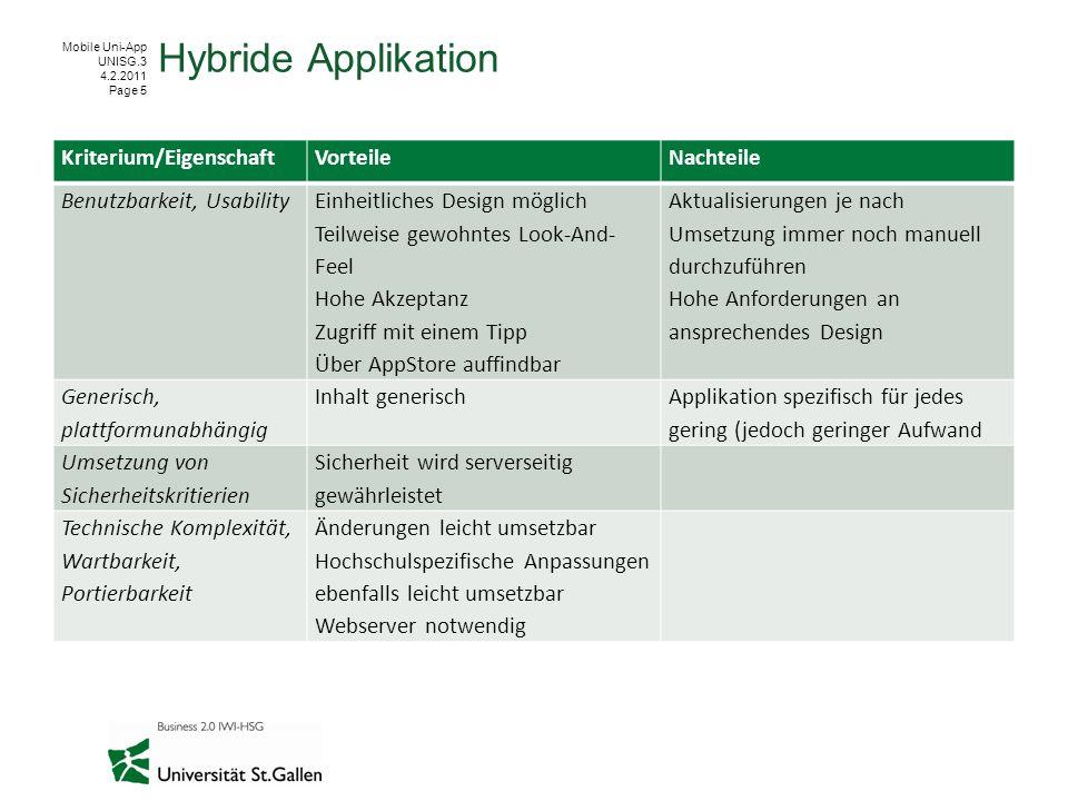 Hybride Applikation Kriterium/Eigenschaft Vorteile Nachteile