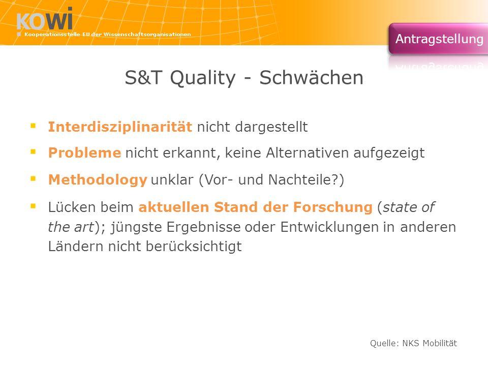 S&T Quality - Schwächen