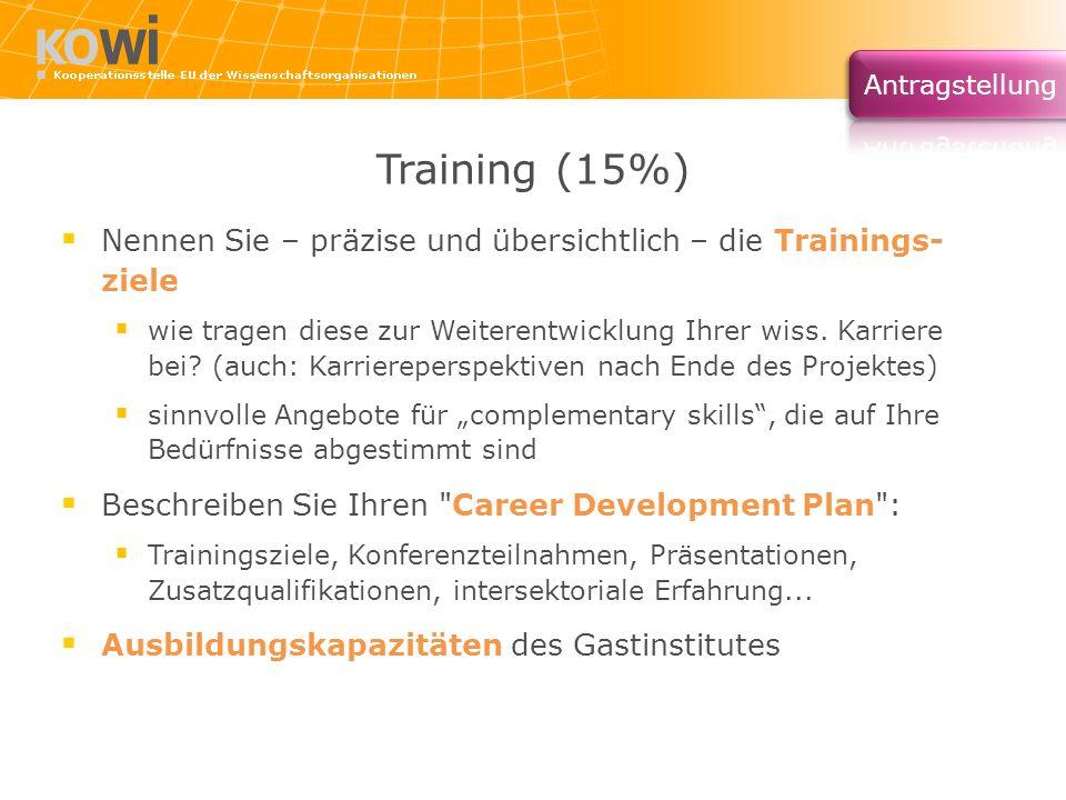 Training (15%) Nennen Sie – präzise und übersichtlich – die Trainings- ziele.