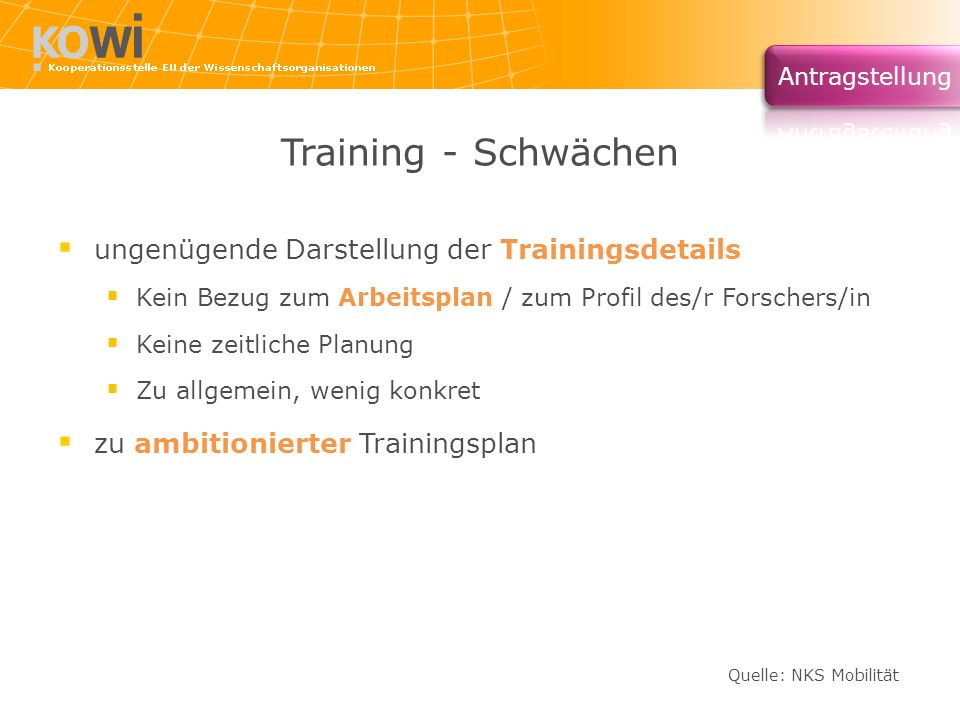 Training - Schwächen ungenügende Darstellung der Trainingsdetails