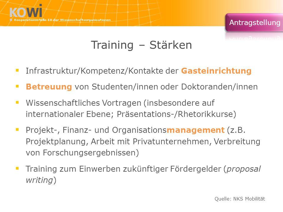Training – Stärken Infrastruktur/Kompetenz/Kontakte der Gasteinrichtung. Betreuung von Studenten/innen oder Doktoranden/innen.