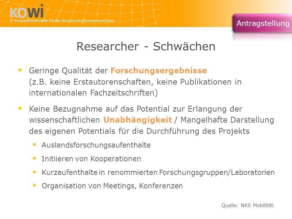 Researcher - Schwächen