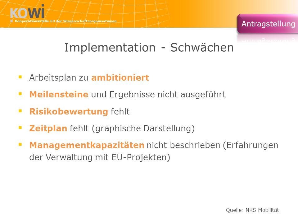 Implementation - Schwächen