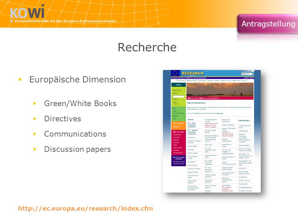 Recherche Europäische Dimension Green/White Books Directives