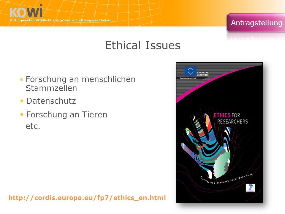 Ethical Issues Stammzellen Datenschutz Forschung an Tieren etc.