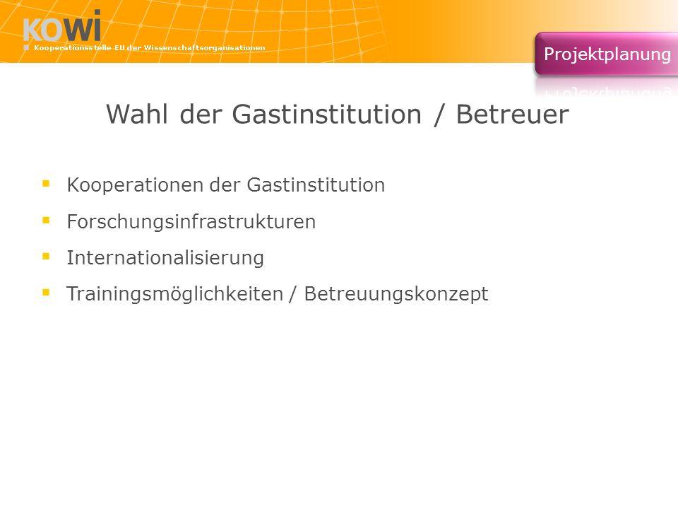 Wahl der Gastinstitution / Betreuer