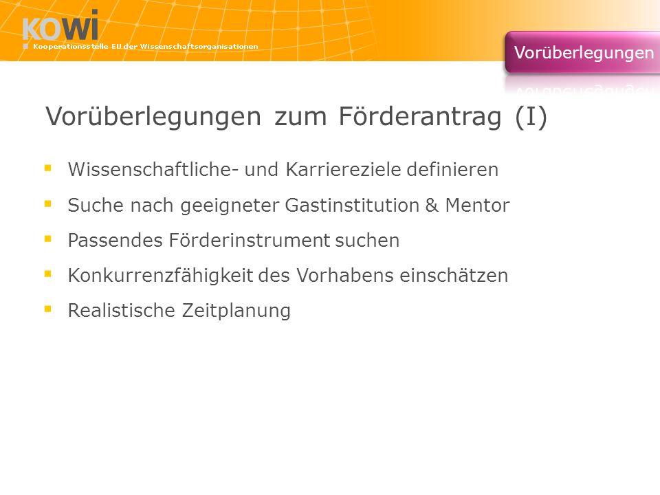 Vorüberlegungen zum Förderantrag (I)
