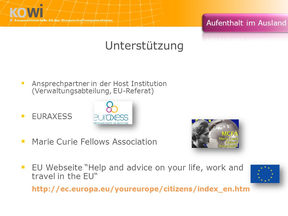 Unterstützung Marie Curie Fellows Association