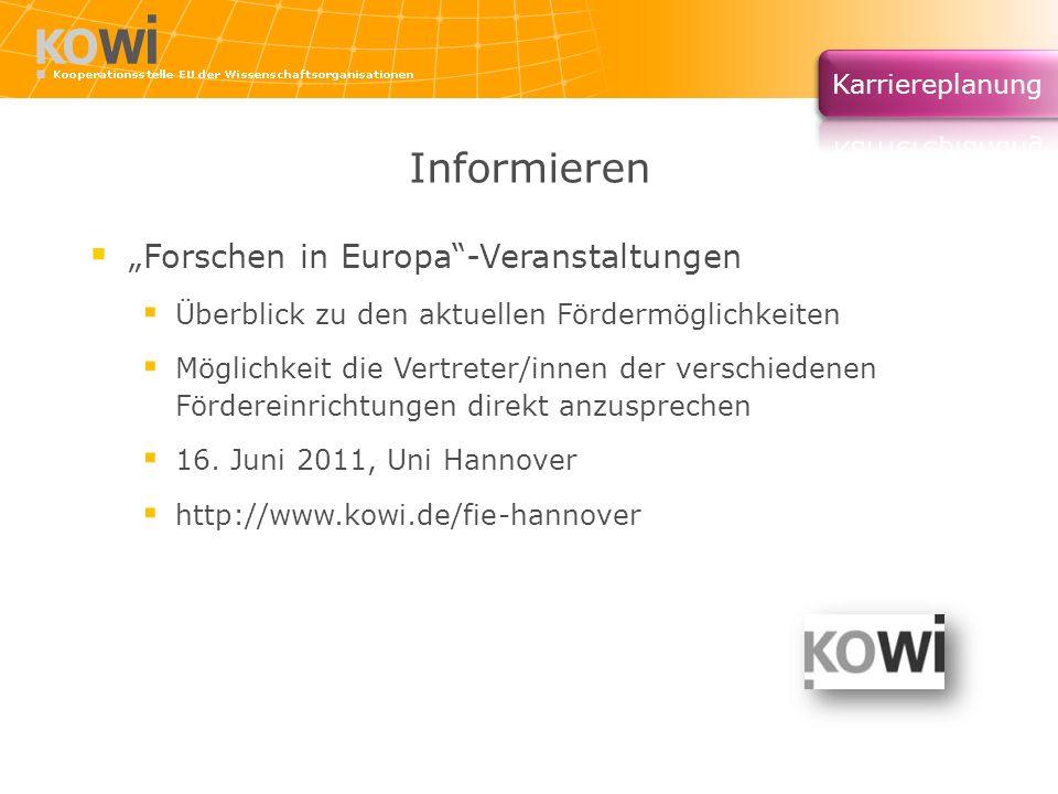 """Informieren """"Forschen in Europa -Veranstaltungen"""