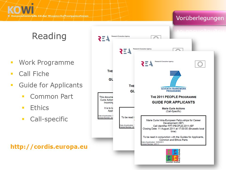 Reading Work Programme Call Fiche Guide for Applicants Common Part