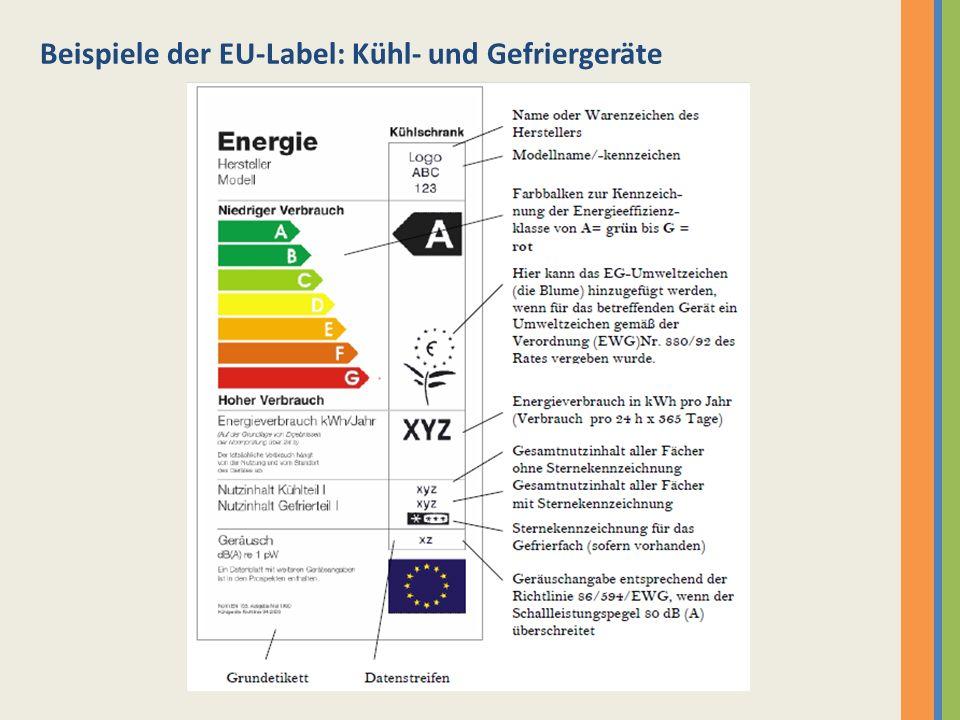 Beispiele der EU-Label: Kühl- und Gefriergeräte