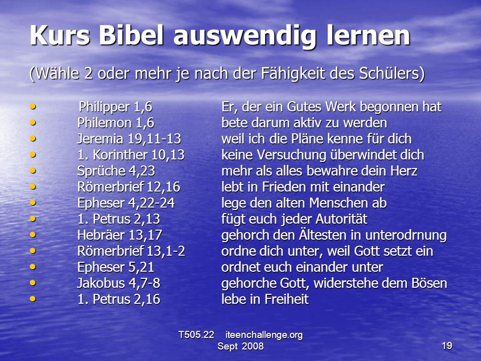 Kurs Bibel auswendig lernen