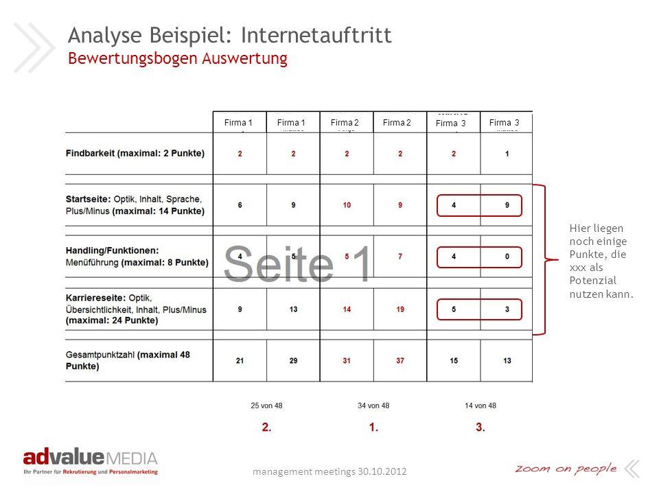 Analyse Beispiel: Internetauftritt