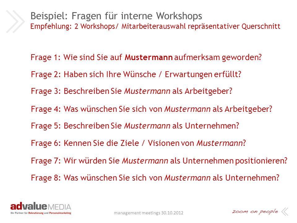 Beispiel: Fragen für interne Workshops Empfehlung: 2 Workshops/ Mitarbeiterauswahl repräsentativer Querschnitt