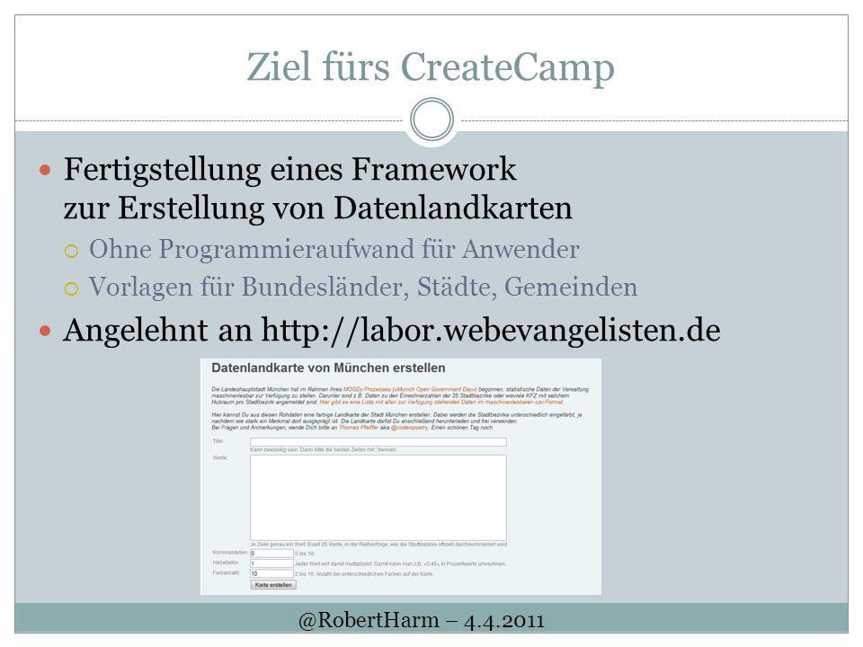 Ziel fürs CreateCamp Fertigstellung eines Framework zur Erstellung von Datenlandkarten. Ohne Programmieraufwand für Anwender.