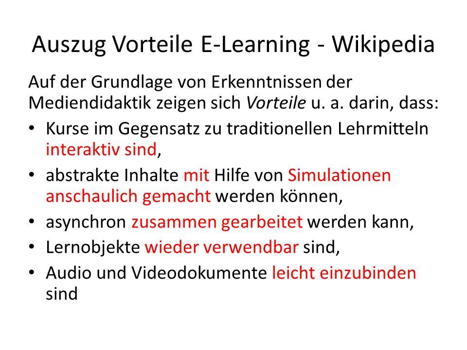 Auszug Vorteile E-Learning - Wikipedia