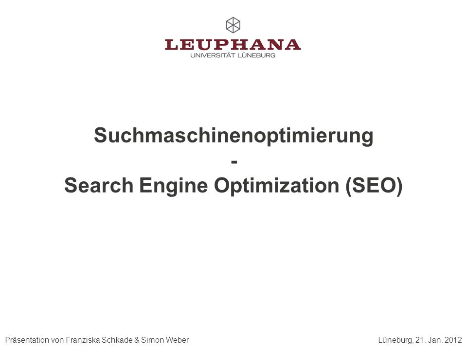 Suchmaschinenoptimierung Search Engine Optimization (SEO)