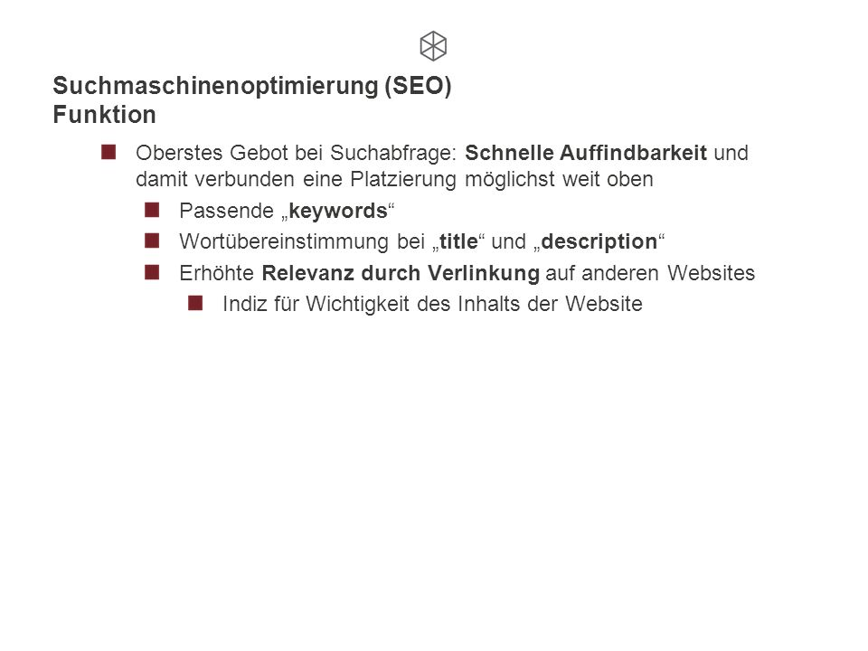 Suchmaschinenoptimierung (SEO) Funktion