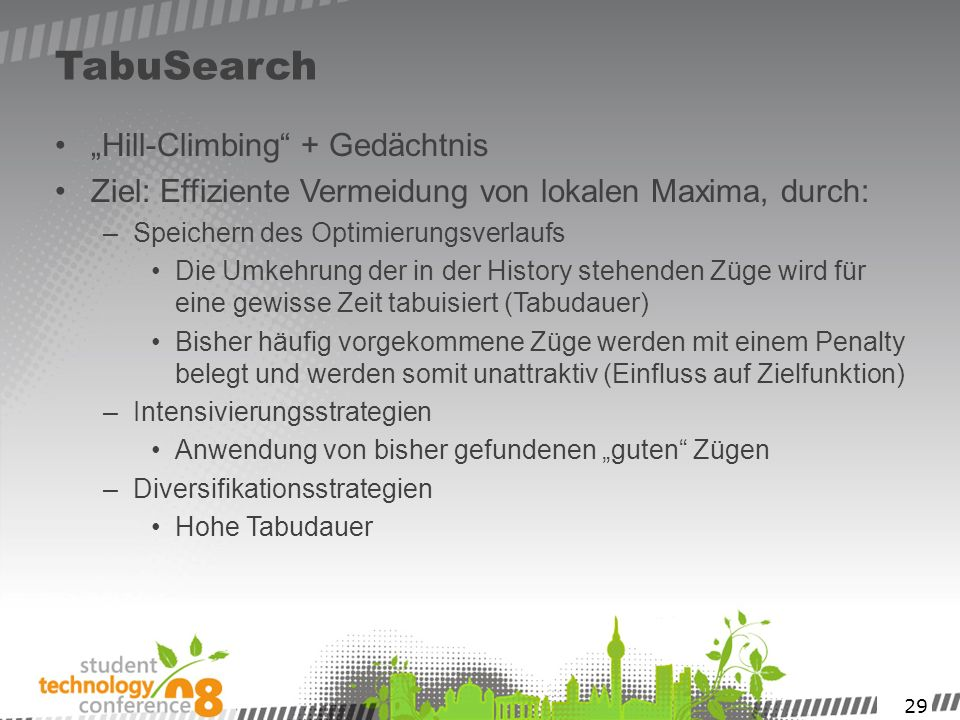 "TabuSearch ""Hill-Climbing + Gedächtnis"