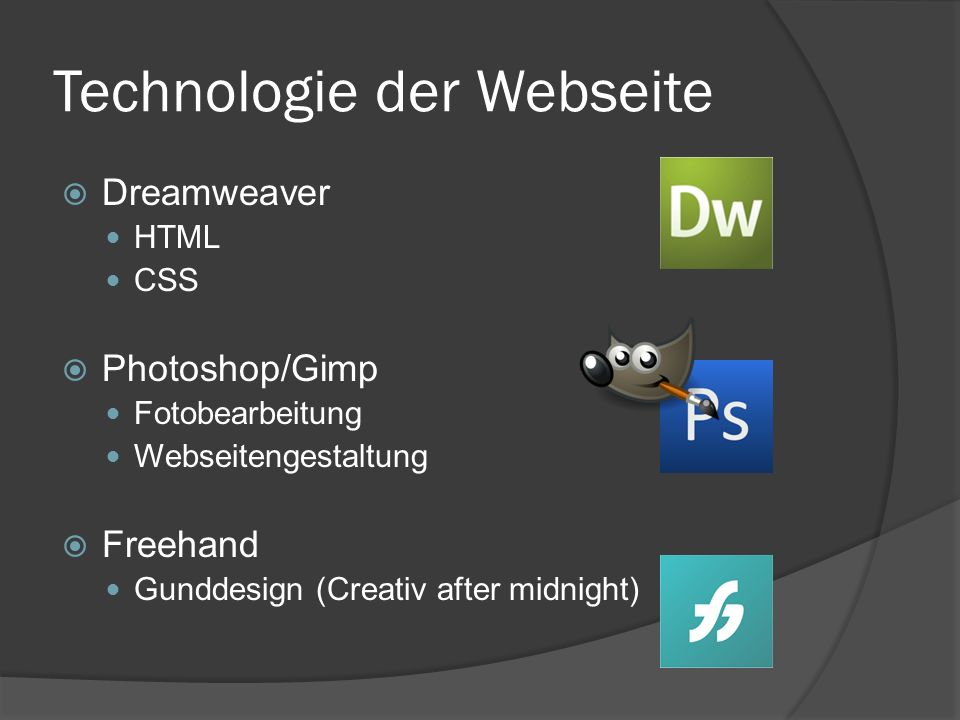Technologie der Webseite