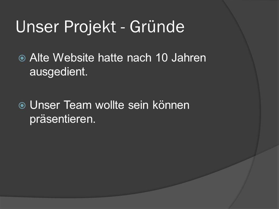 Unser Projekt - Gründe Alte Website hatte nach 10 Jahren ausgedient.