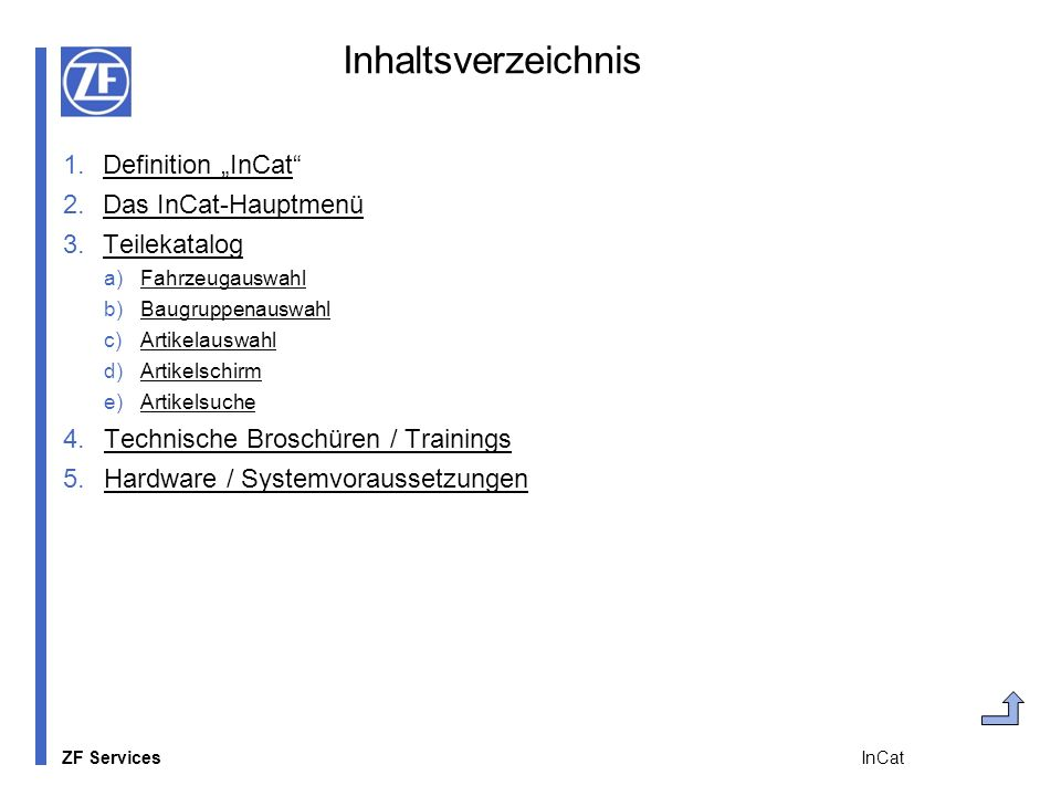 "Inhaltsverzeichnis Definition ""InCat Das InCat-Hauptmenü Teilekatalog"