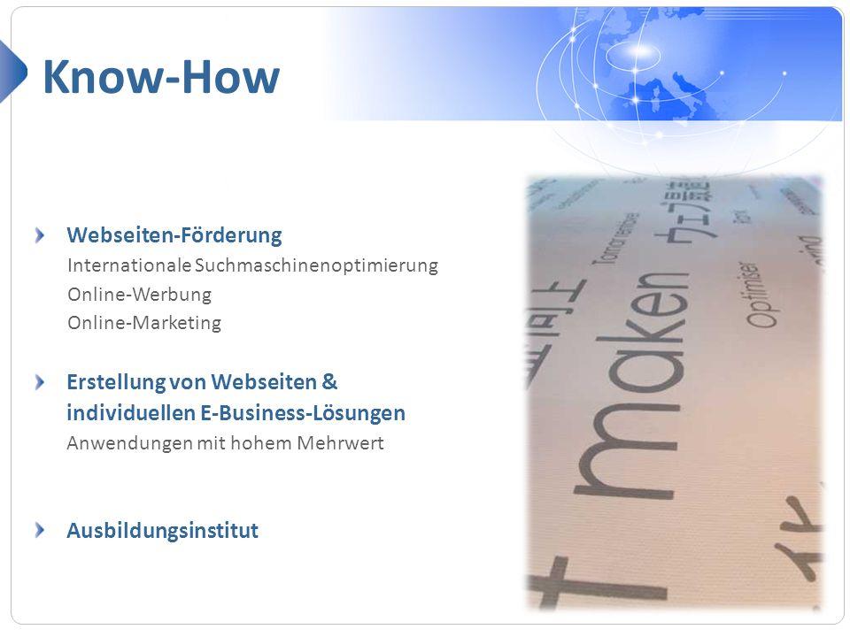 Know-How Webseiten-Förderung Erstellung von Webseiten &