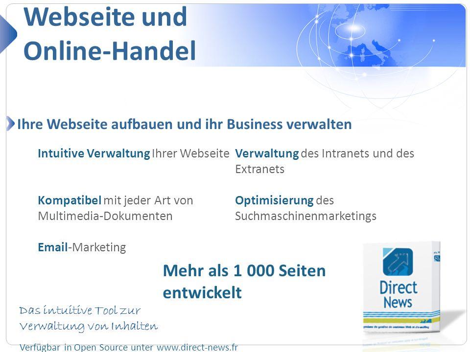 Webseite und Online-Handel