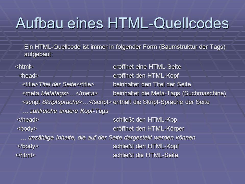 Aufbau eines HTML-Quellcodes