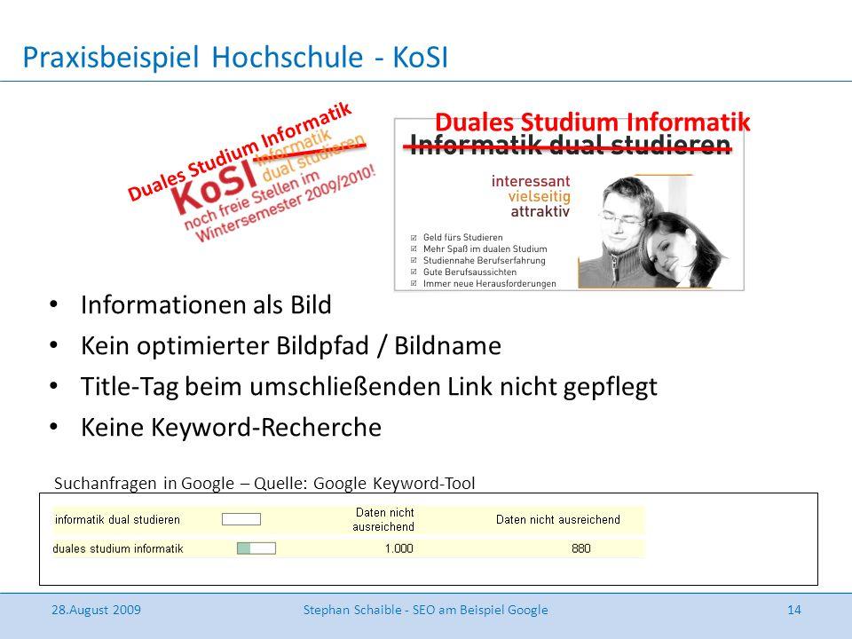 Praxisbeispiel Hochschule - KoSI