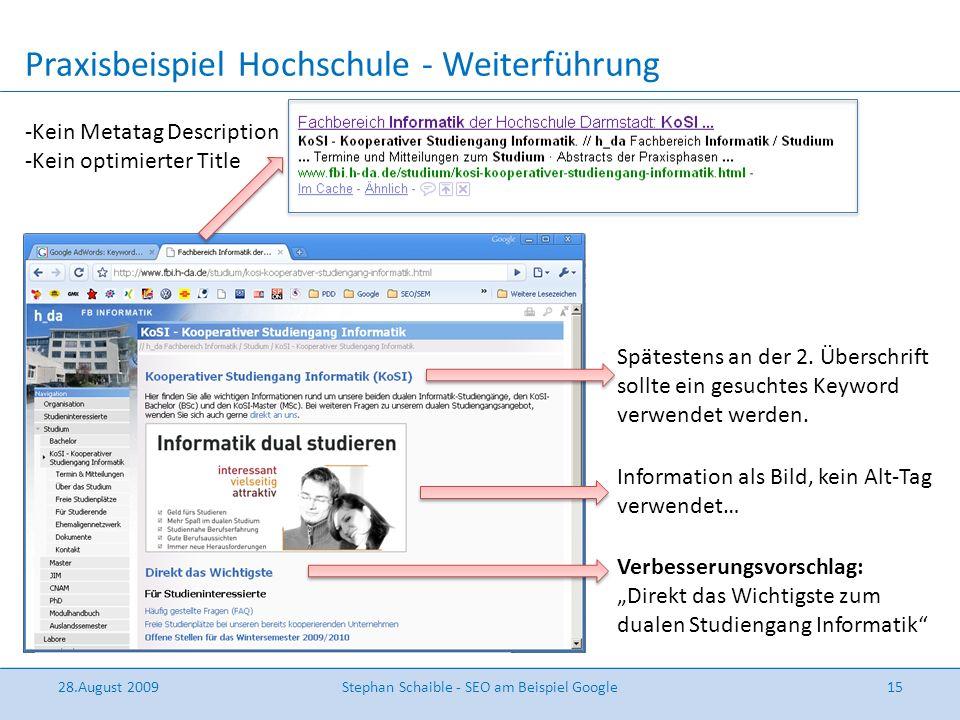 Praxisbeispiel Hochschule - Weiterführung