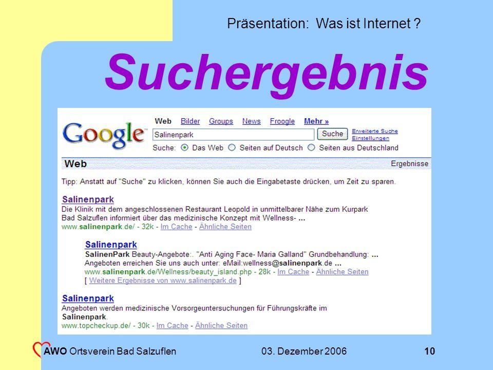 Suchergebnis AWO Ortsverein Bad Salzuflen 03. Dezember 2006