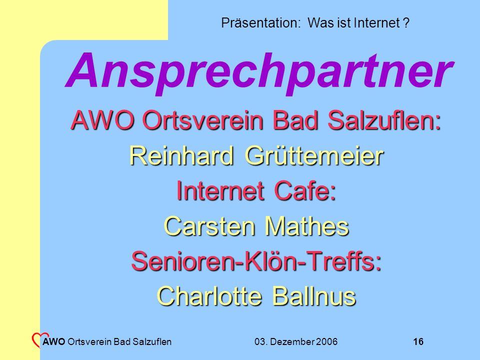 Ansprechpartner AWO Ortsverein Bad Salzuflen: Reinhard Grüttemeier