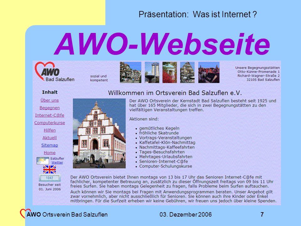 AWO-Webseite AWO Ortsverein Bad Salzuflen 03. Dezember 2006