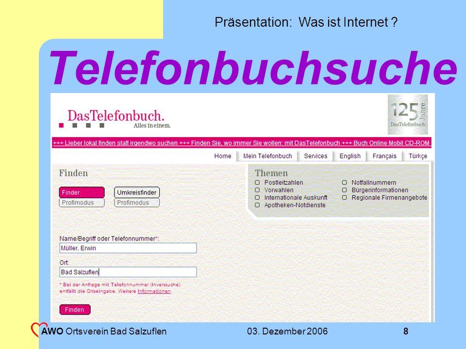 Telefonbuchsuche AWO Ortsverein Bad Salzuflen 03. Dezember 2006