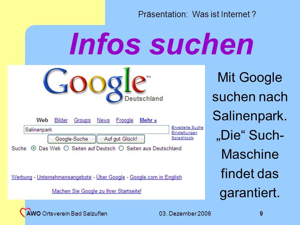 """Infos suchen Mit Google suchen nach Salinenpark. """"Die Such- Maschine"""