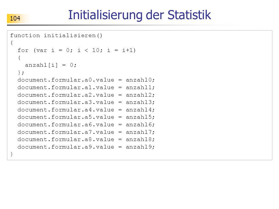 Initialisierung der Statistik