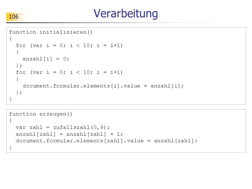 Verarbeitung function initialisieren() {
