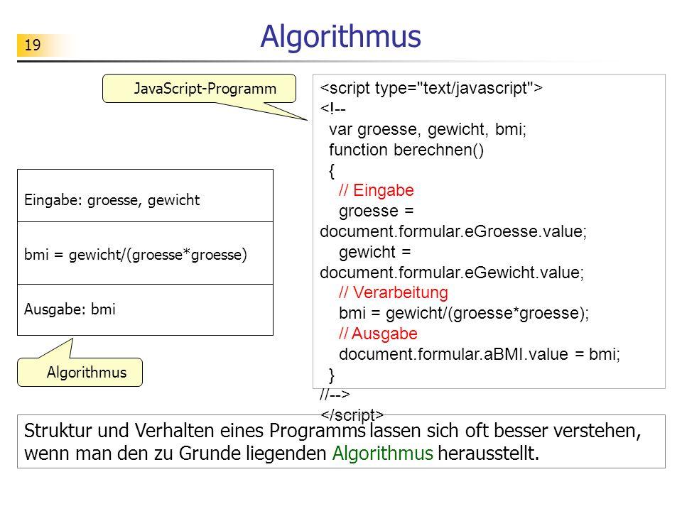 Algorithmus JavaScript-Programm.