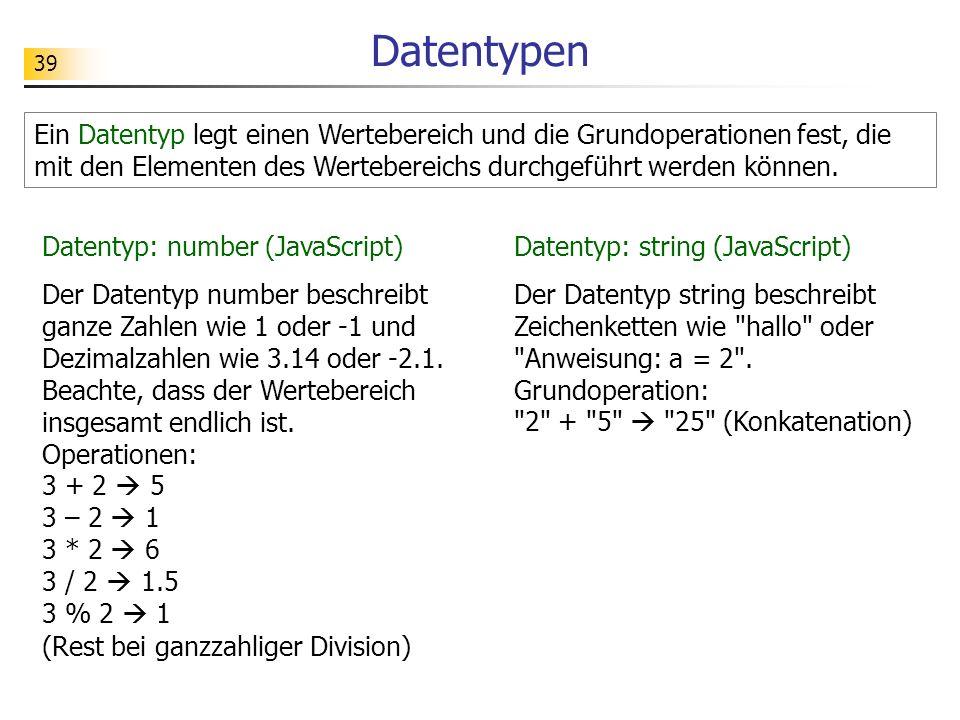 Datentypen Ein Datentyp legt einen Wertebereich und die Grundoperationen fest, die mit den Elementen des Wertebereichs durchgeführt werden können.
