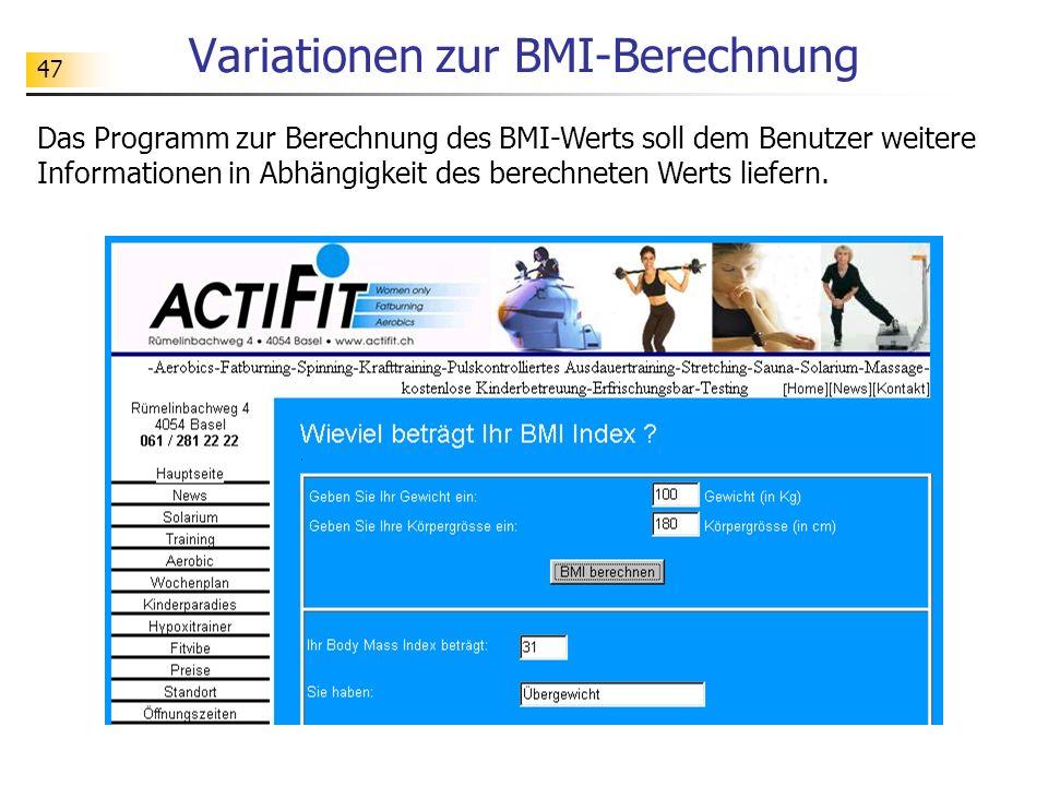 Variationen zur BMI-Berechnung