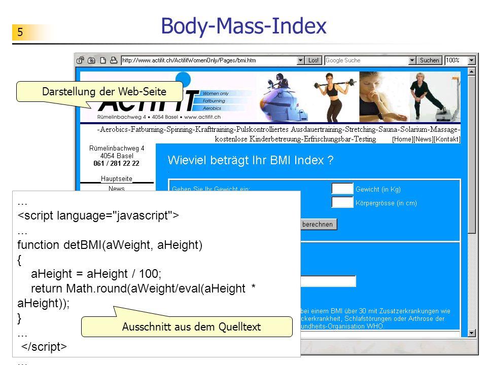 Body-Mass-Index Darstellung der Web-Seite.
