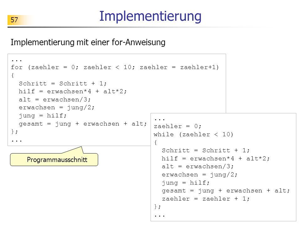 Implementierung Implementierung mit einer for-Anweisung ...
