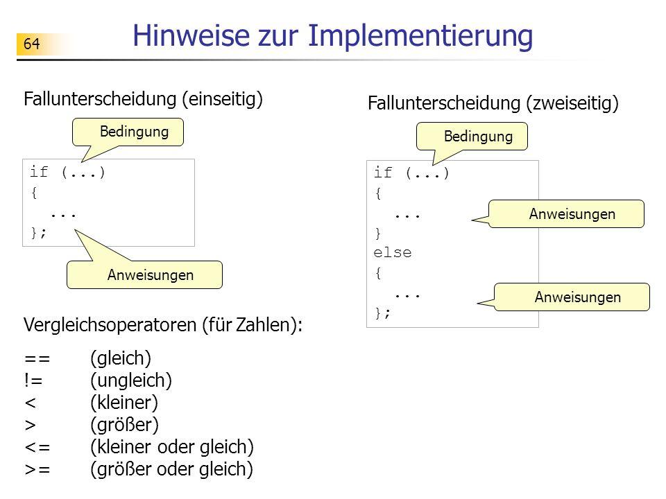 Hinweise zur Implementierung