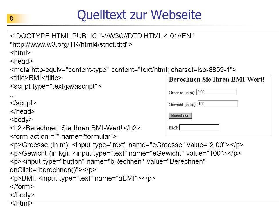 Quelltext zur Webseite